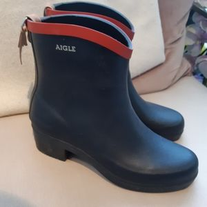 Aigle rain boots navy red 36